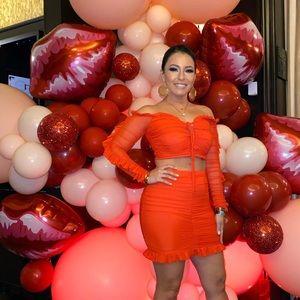 Romantic Escape Mesh Skirt Set - Red